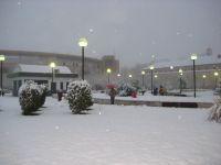 Las Bernardas y la plaza de toros bajo la nevada.