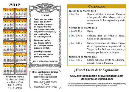 CALENDARIO FESTIVIDAD STMO CRISTO EXPIRACION ORGIVA