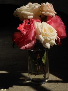 Jarrón con rosas.