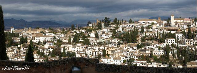 Panorámica del  Albaycin desde el Alcazar